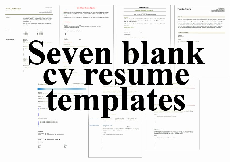 Fill In Resume Template Free New 7 Free Blank Cv Resume Templates for – Free Cv