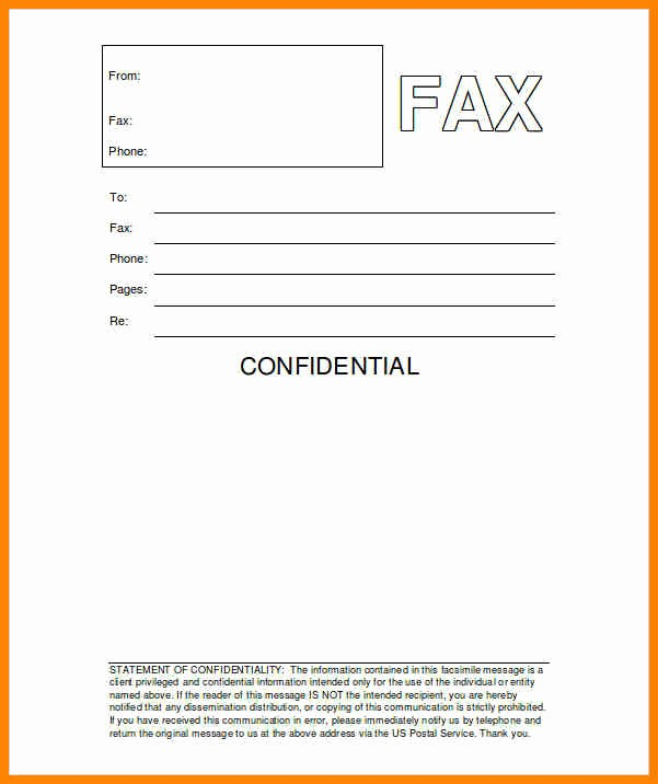 Fillable Fax Cover Sheet Template Inspirational 5 Fax Front Sheet Template
