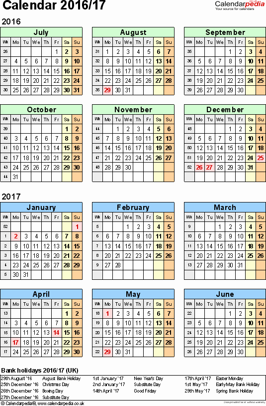 Fiscal Year Calendar 2016 Template Awesome Split Year Calendars 2016 17 July to June for Excel Uk