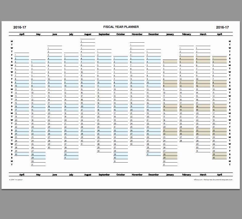 Fiscal Year Calendar 2016 Template Beautiful 2016 17 Fiscal Year Planner Calendar Printable