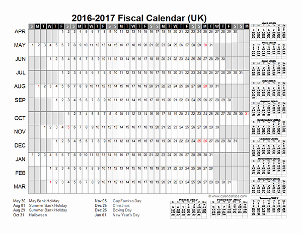 Fiscal Year Calendar 2016 Template Elegant 2016 Fiscal Year Calendar Uk 01 Free Printable Templates