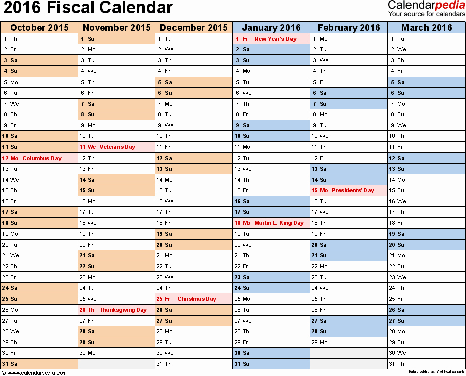 Fiscal Year Calendar 2016 Template Elegant Fiscal Calendars 2016 as Free Printable Pdf Templates