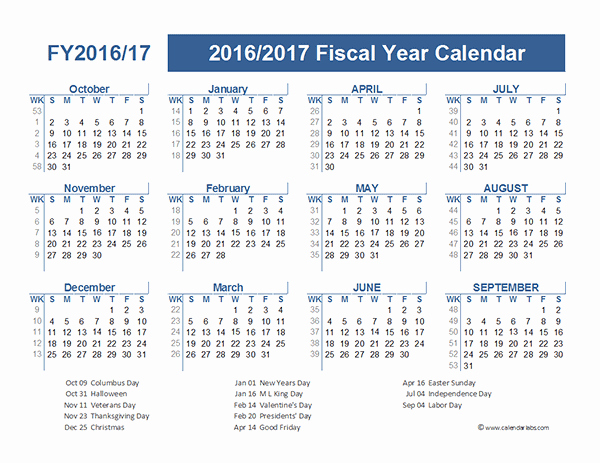Fiscal Year Calendar 2016 Template Fresh 2016 Fiscal Year Calendar Usa 09 Free Printable Templates