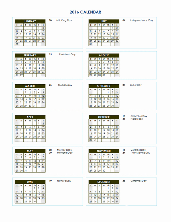 Fiscal Year Calendar 2016 Template Fresh 2016 Yearly Calendar Template 03 Free Printable Templates