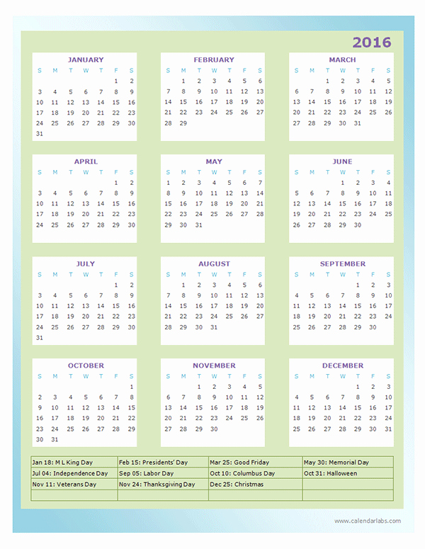 Fiscal Year Calendar 2016 Template Fresh 2016 Yearly Calendar Template 13p Free Printable Templates