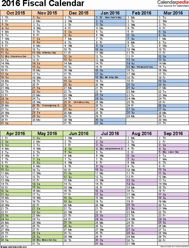 Fiscal Year Calendar 2016 Template Fresh Fiscal Calendars 2016 as Free Printable Pdf Templates