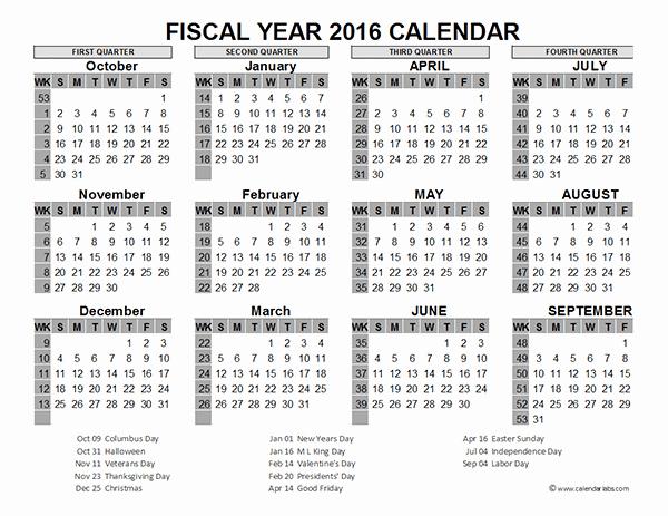 Fiscal Year Calendar 2016 Template Inspirational 2016 Fiscal Year Calendar Usa 06 Free Printable Templates