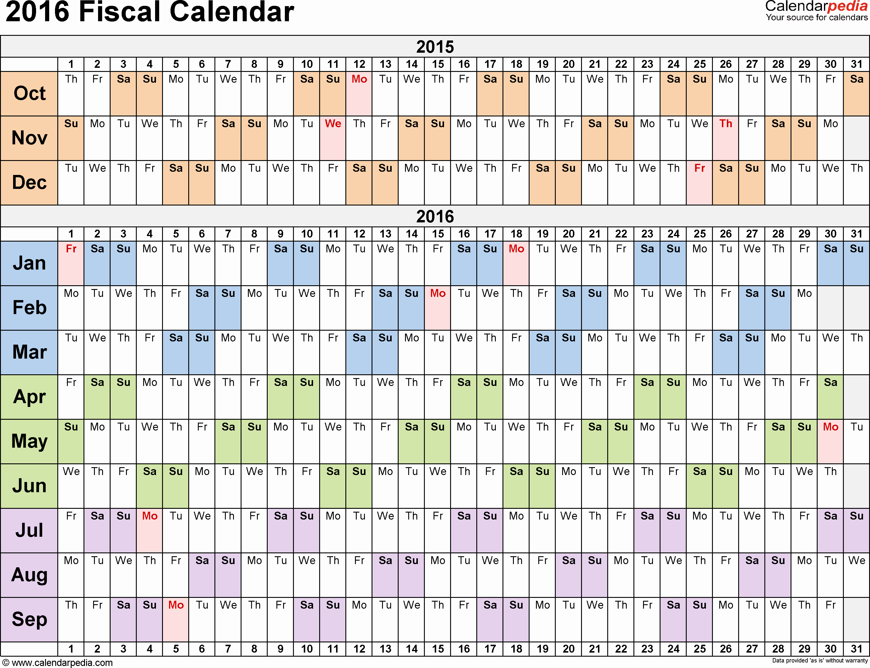 Fiscal Year Calendar 2016 Template Lovely Fiscal Calendars 2016 as Free Printable Pdf Templates