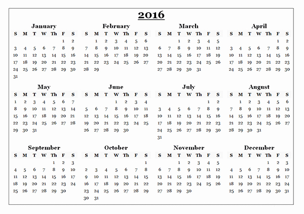 Fiscal Year Calendar 2016 Template Luxury 2016 Yearly Calendar Template 08 Free Printable Templates