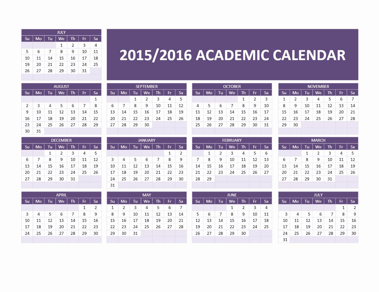 Fiscal Year Calendar 2016 Template New 2015 2016 Academic Calendar Templates