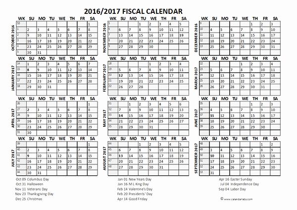 Fiscal Year Calendar 2016 Template New 2016 Fiscal Year Calendar Usa 08 Free Printable Templates