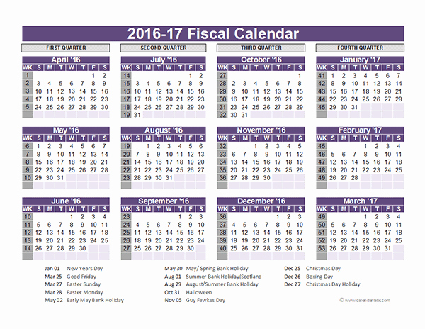 Fiscal Year Calendar 2016 Template Unique 2016 Fiscal Year Calendar Uk 03 Free Printable Templates