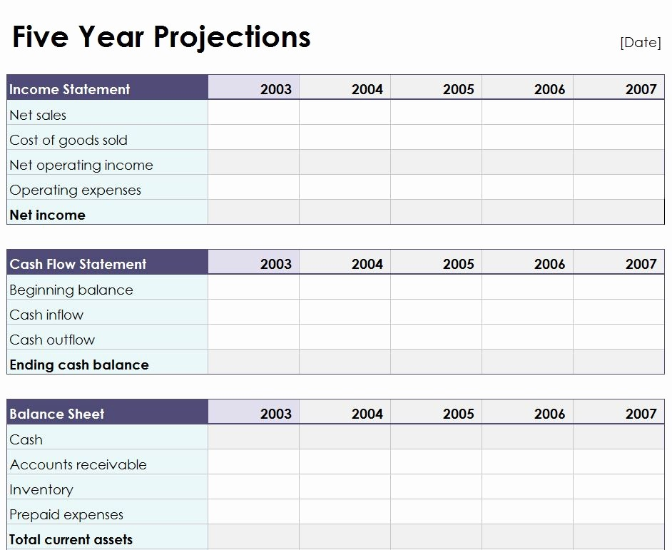 Five Year Plan Template Excel Inspirational Five Year Projection Worksheet