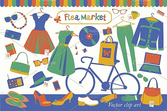 Flea Market Flyer Template Free Fresh Flea Market Illustrations Creative Market