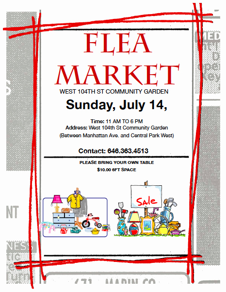 Flea Market Flyer Template Free Inspirational Flea Market Flyer Template West Th Street Munity Gard