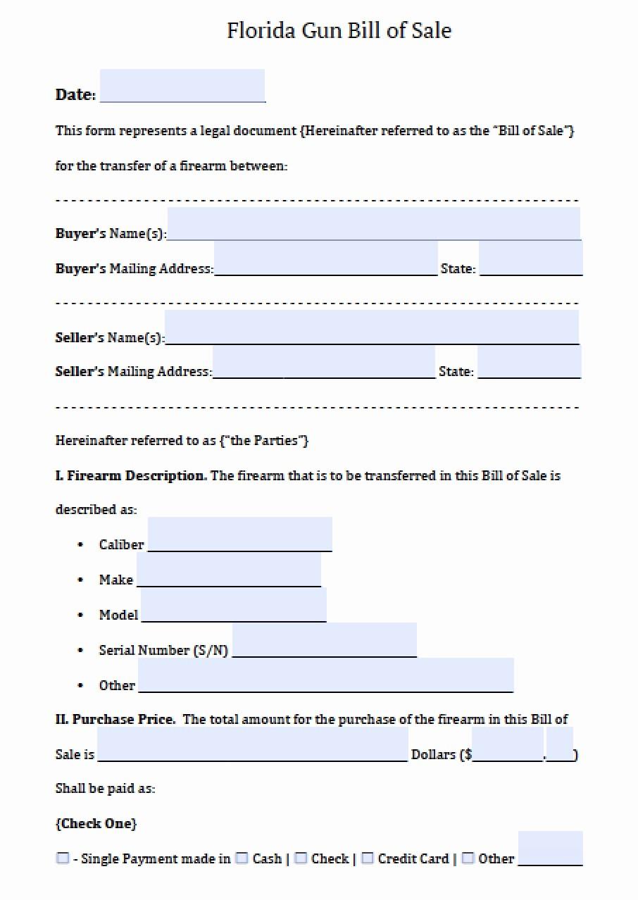 Florida Automobile Bill Of Sale Lovely Free Florida Firearm Gun Bill Of Sale form Pdf