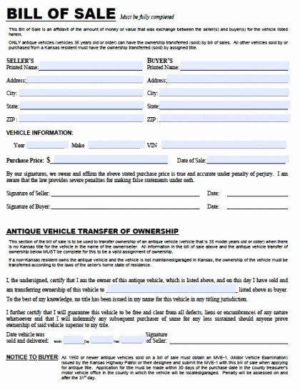 Florida Automotive Bill Of Sale Awesome Free Kansas Dmv Vehicle Bill Of Sale Tr 12 form