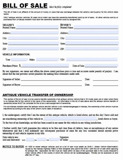 Florida Automotive Bill Of Sale Awesome Free Kansas Dmv Vehicle Bill Of Sale Tr 12 form