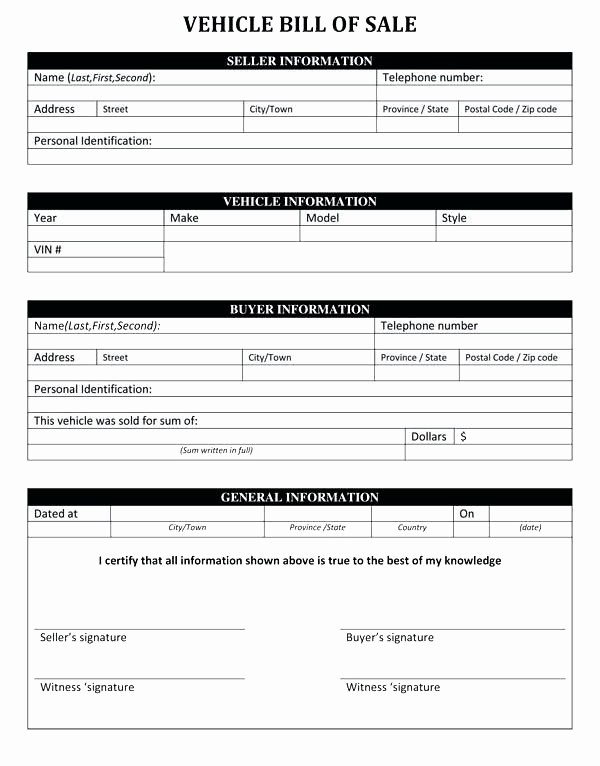 Florida Automotive Bill Of Sale Inspirational Automobile Bill Sale Template Vehicle Bill Sale form