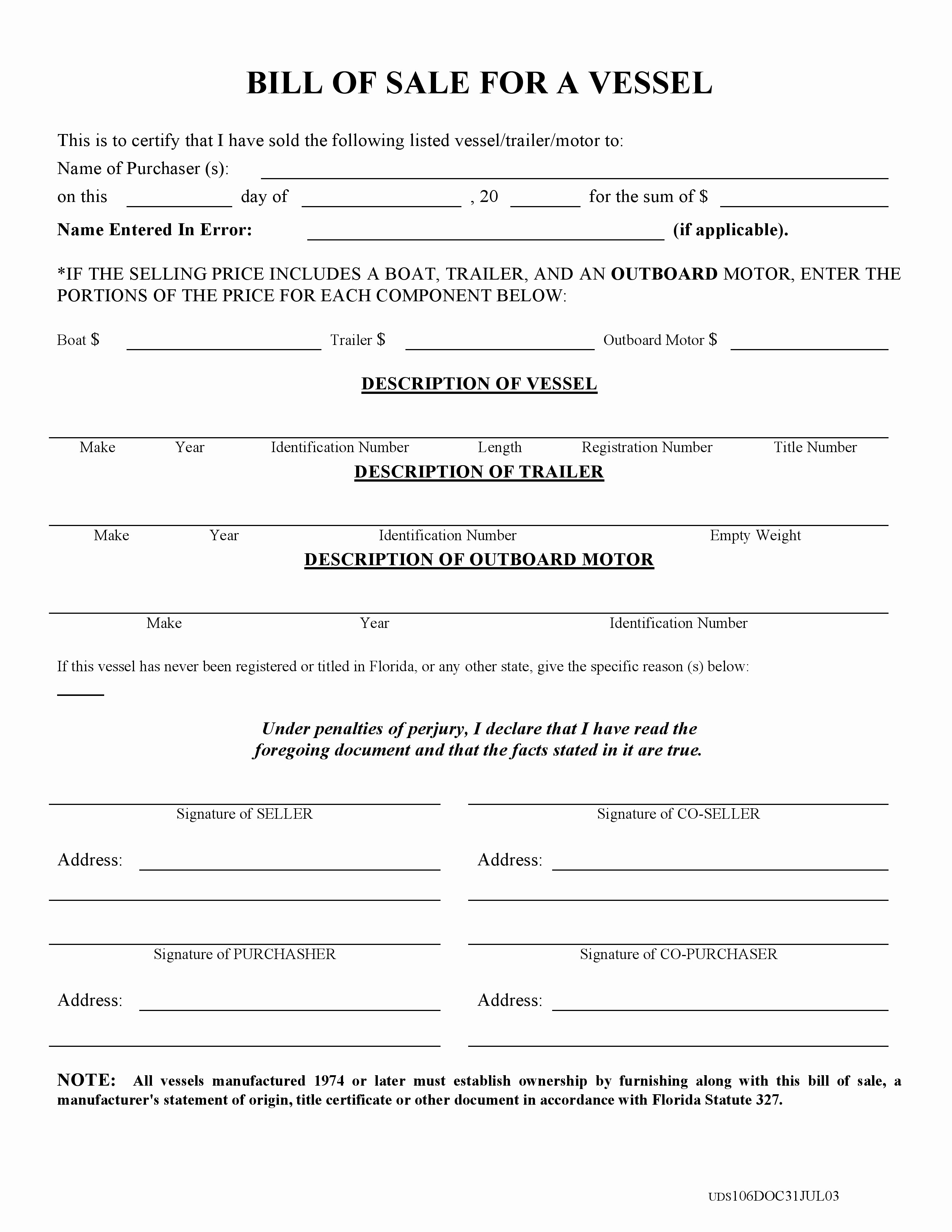 Florida Automotive Bill Of Sale Lovely Free Florida Boat Bill Of Sale form Pdf