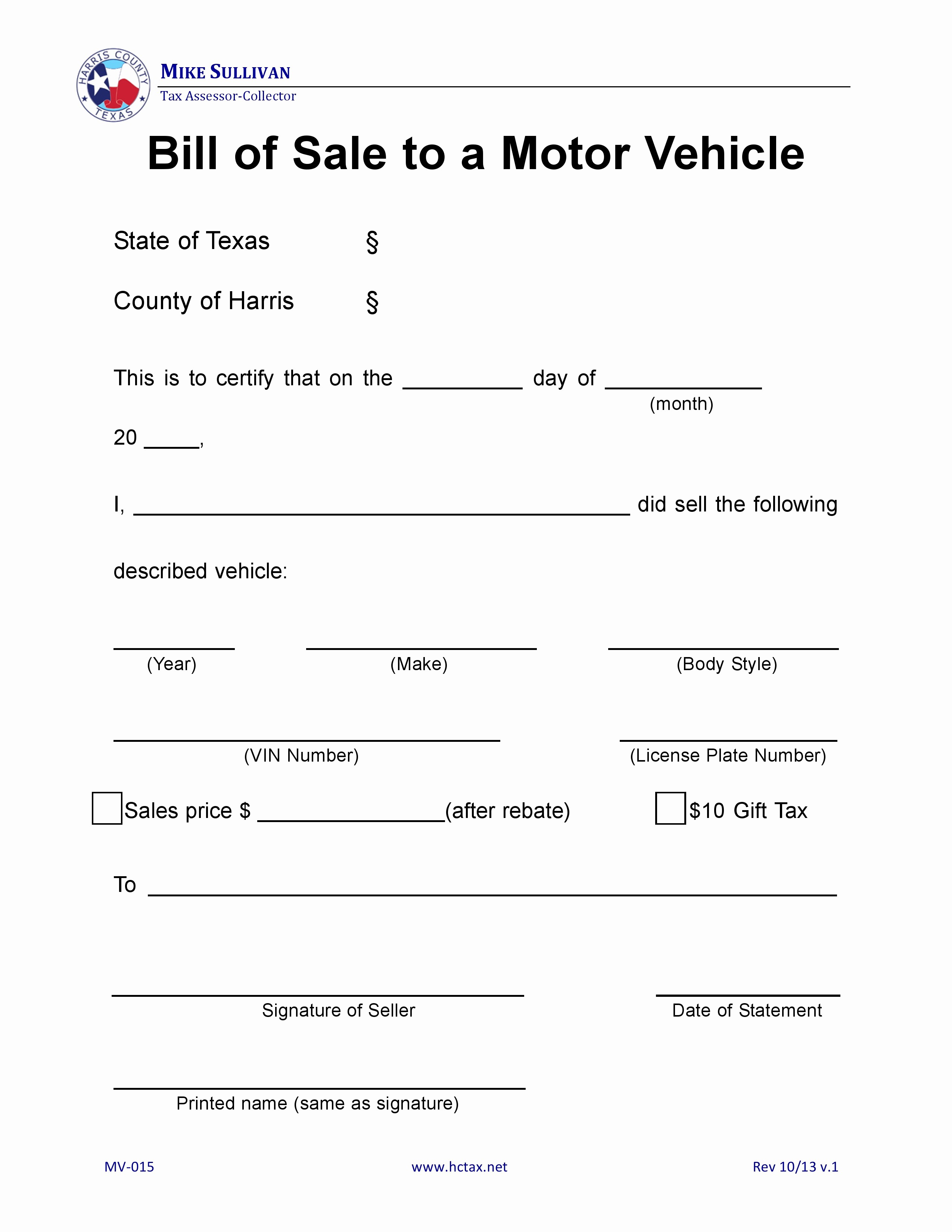 harris county texas motor vehicle bill sale mv 015