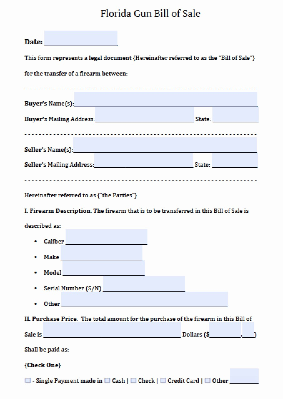 Florida Automotive Bill Of Sale New Free Florida Firearm Gun Bill Of Sale form Pdf