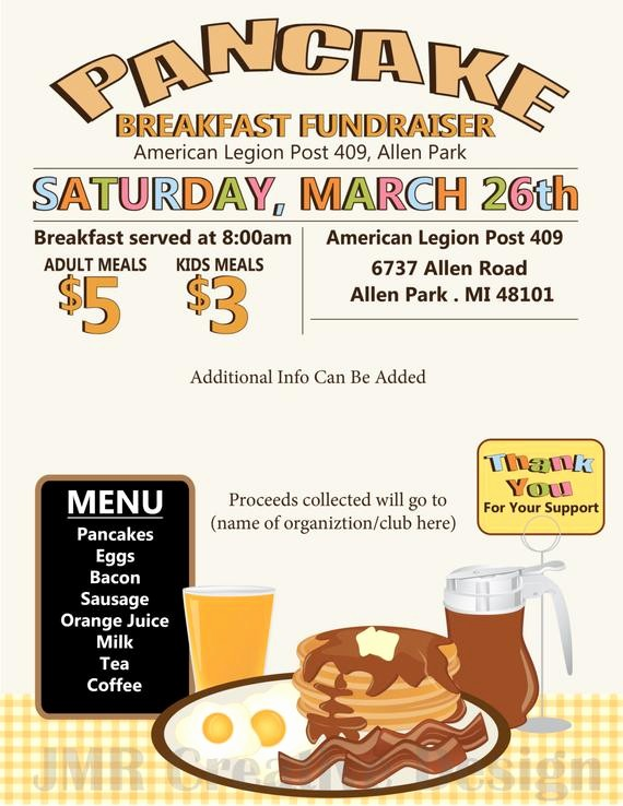 Flyers for Fundraisers Template Free Awesome Pancake Breakfast Fundraiser Flyer All You by