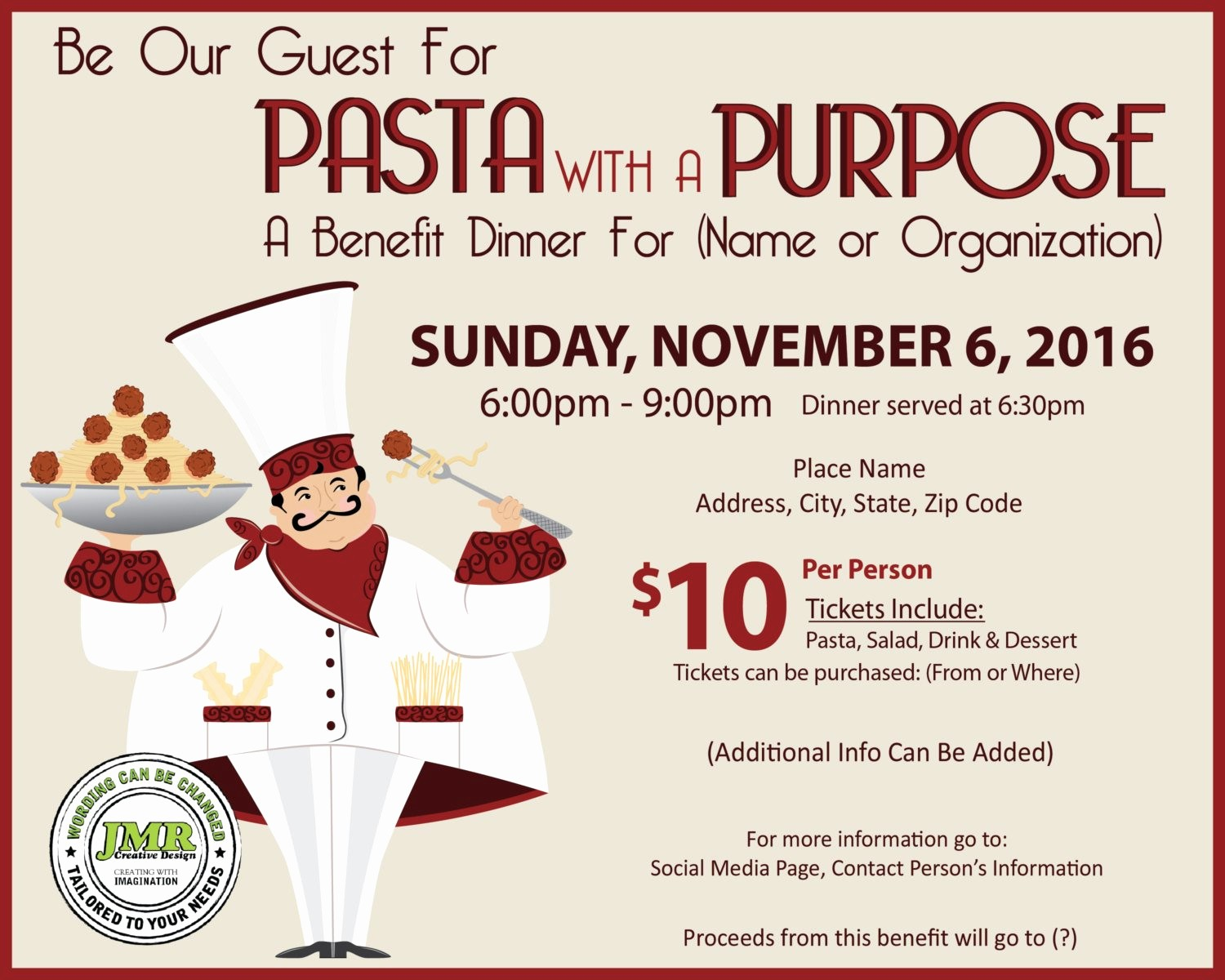 Flyers for Fundraisers Template Free Fresh Italian Dinner Fundraiser Flyer Benefit Dinner Flyer Pasta