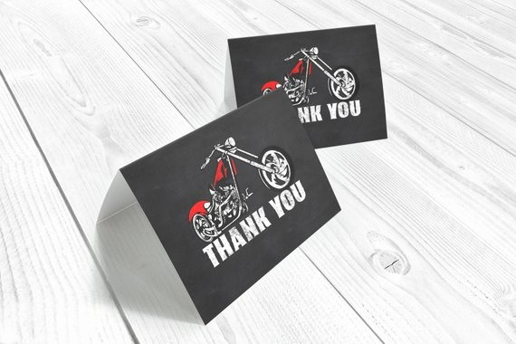 Folded Thank You Card Template Awesome Motorcycle Thank You Card Chopper Folded Card Template