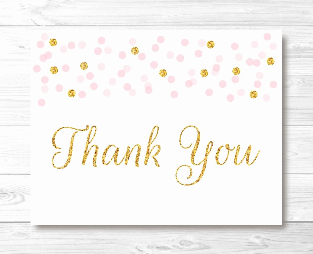 Folded Thank You Card Template Awesome Pink & Gold Glitter Confetti Folded Thank You Card Template