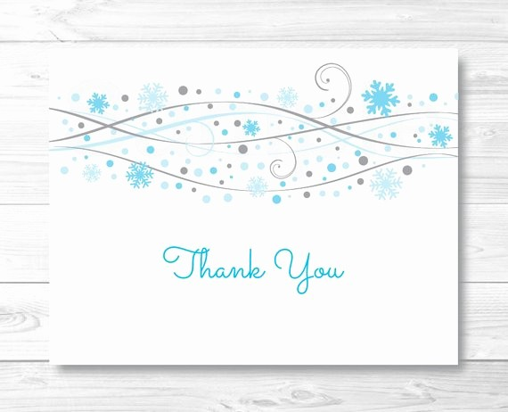 Folded Thank You Card Template Beautiful Blue Snowflake Thank You Card Folded Card Template
