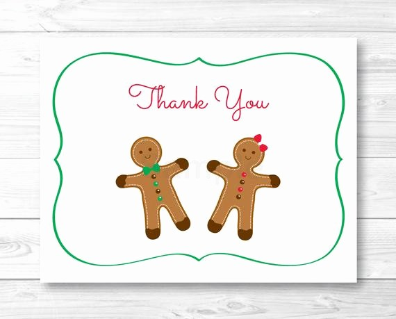 Folded Thank You Card Template Beautiful Gingerbread Thank You Card Folded Card Template