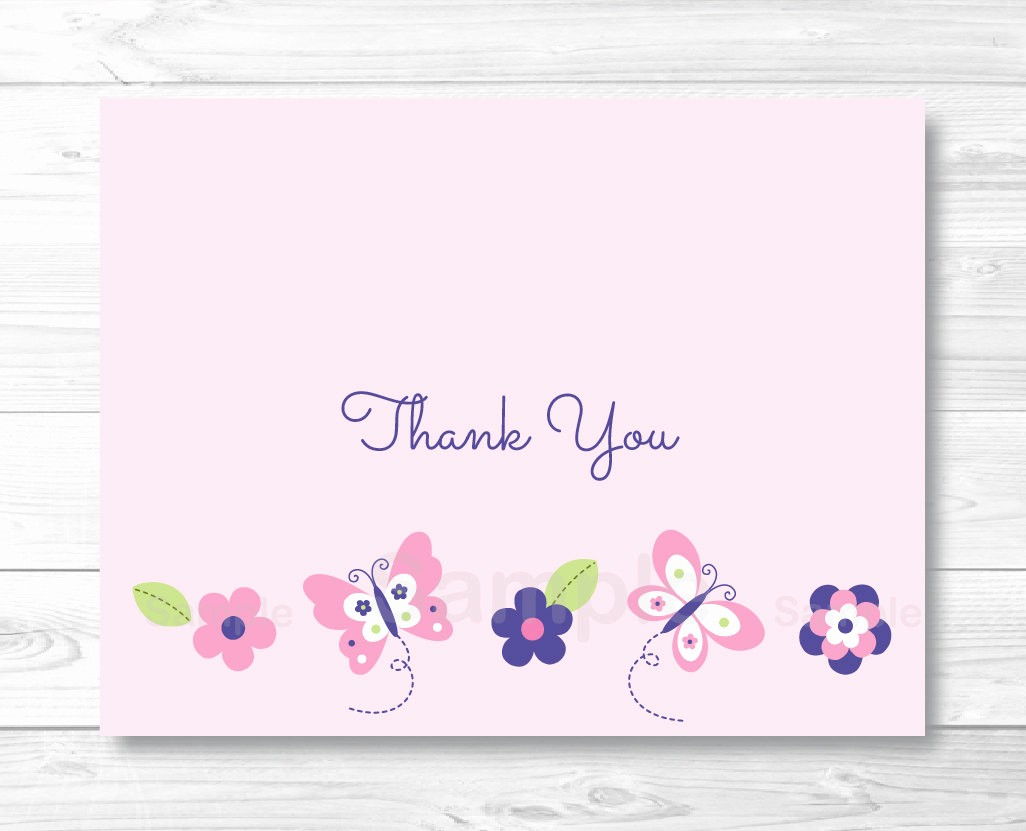 Folded Thank You Card Template Beautiful Pink butterfly Thank You Card Folded Template Printable