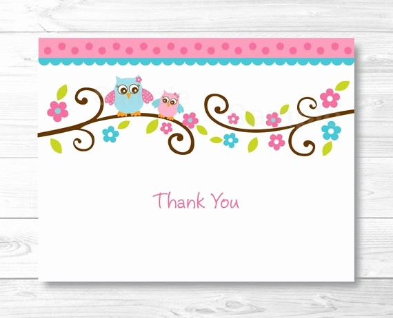 Folded Thank You Card Template Beautiful Pink Owl Thank You Card Folded Card Template Owl Baby
