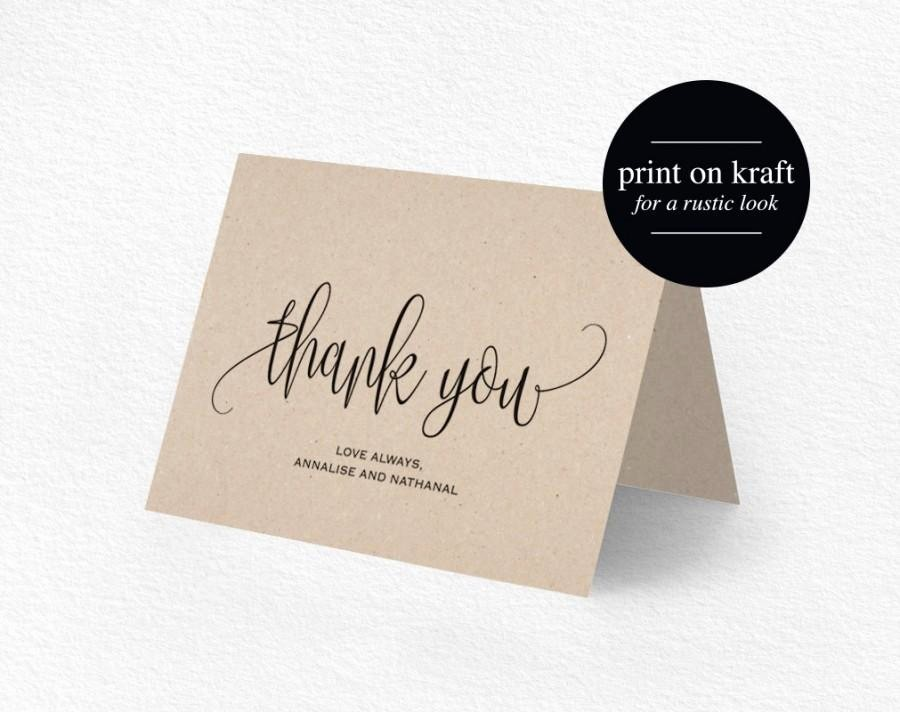 Folded Thank You Card Template Beautiful Thank You Card Wedding Thank You Thank You Card Template