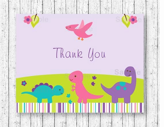 Folded Thank You Card Template Best Of Girl Dinosaur Thank You Card Folded Card Template Dinosaur