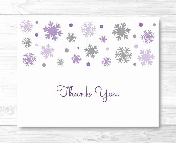 Folded Thank You Card Template Best Of Purple Snowflake Thank You Card Folded Card Template