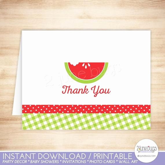 Folded Thank You Card Template Best Of Watermelon Thank You Card Watermelon Folded Thank You