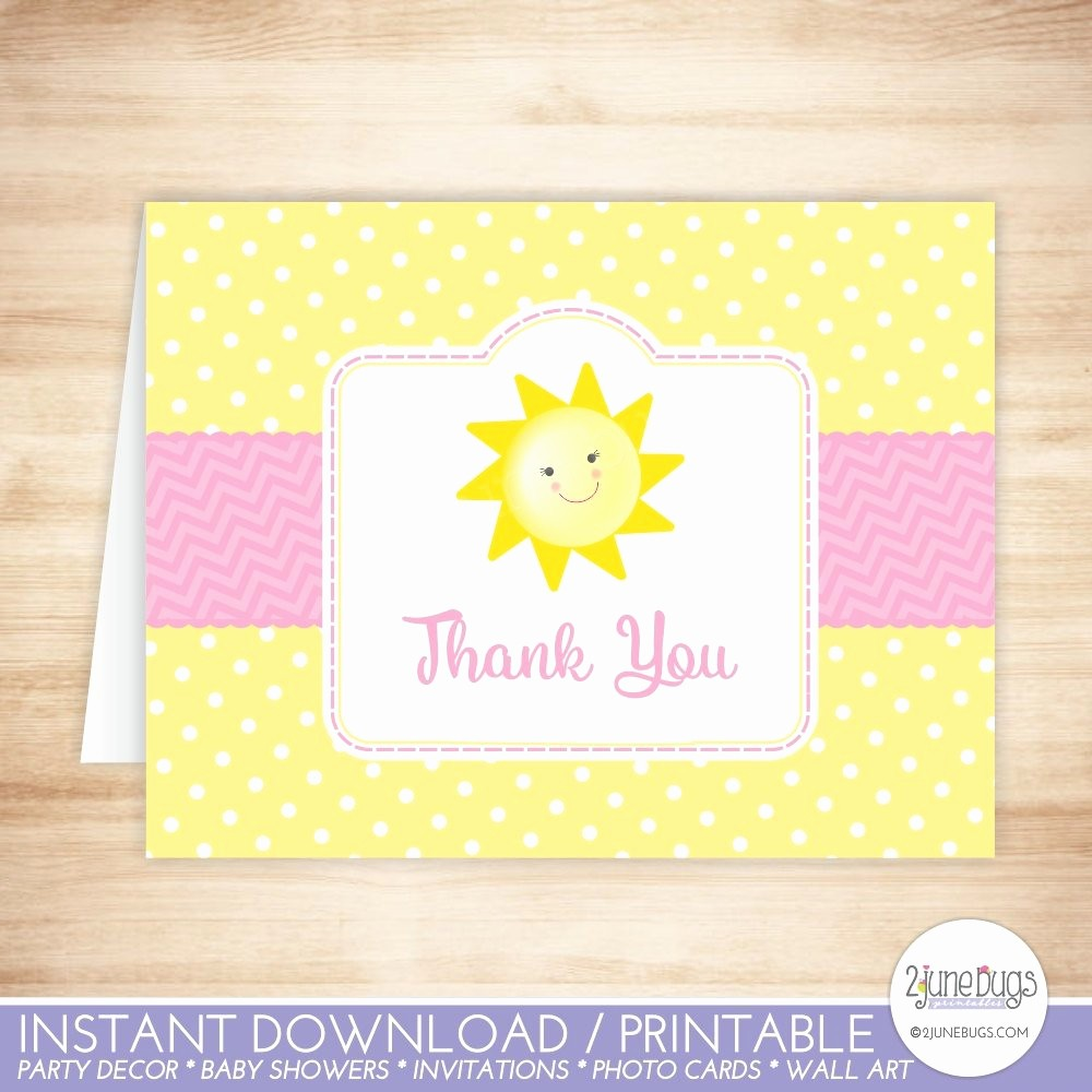 Folded Thank You Card Template Best Of You are My Sunshine Thank You Card Template Sunshine Folded