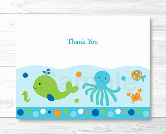 Folded Thank You Card Template Elegant Blue Under the Sea Folded Thank You Card Template Nautical