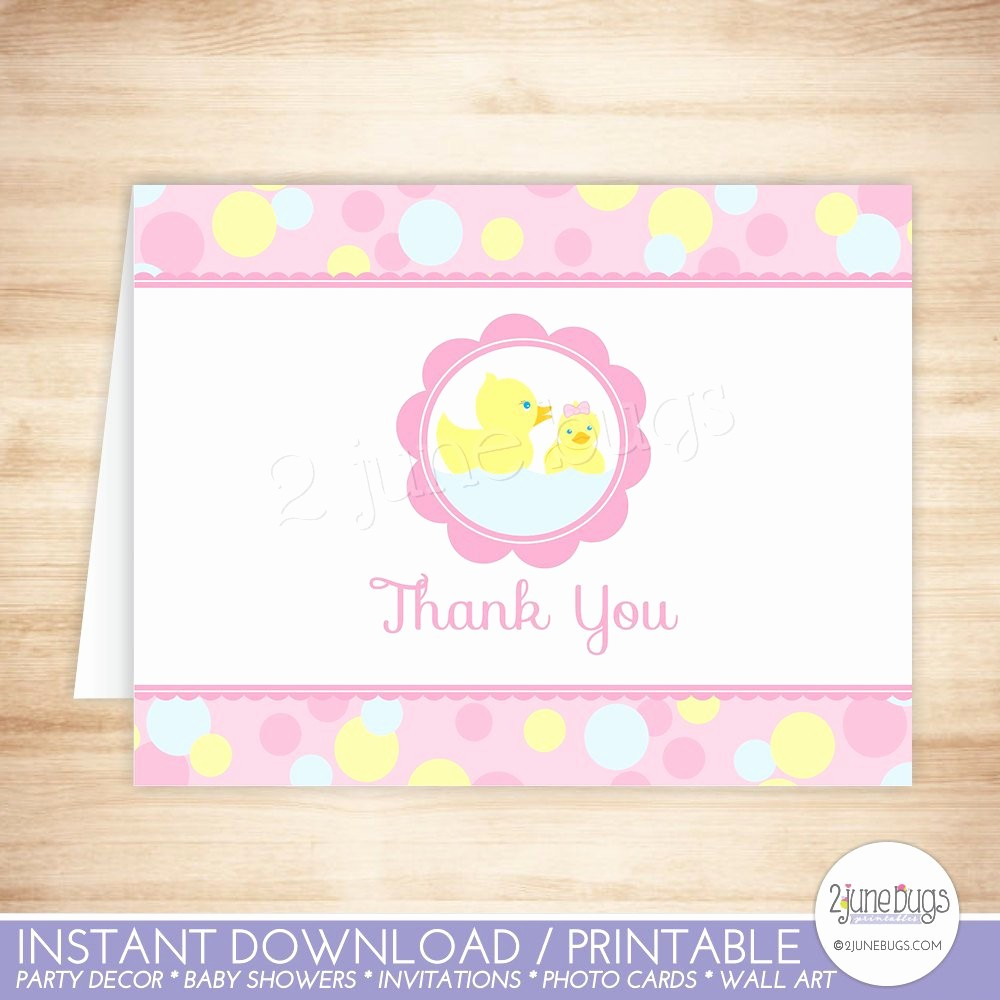 Folded Thank You Card Template Elegant Pink Rubber Duck Thank You Card Template Rubber Ducky Folded