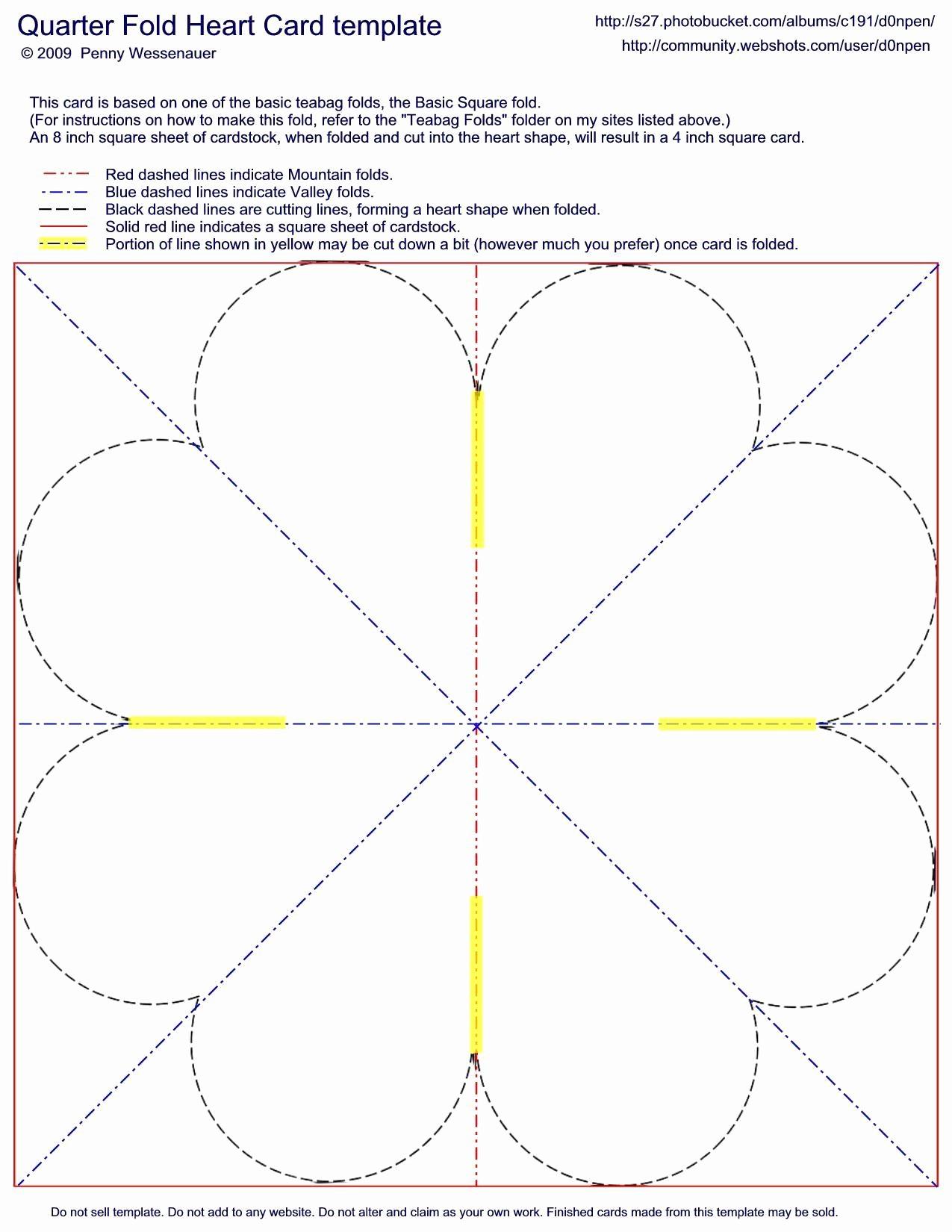 Folded Thank You Card Template Elegant Quarter Fold Heart Card by D0npen