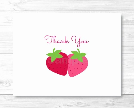 Folded Thank You Card Template Elegant Strawberry Thank You Card Template Strawberry Birthday Party