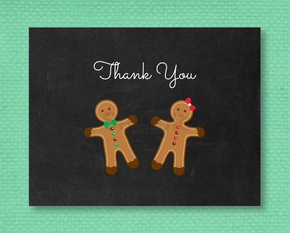 Folded Thank You Card Template Fresh Gingerbread Thank You Card Folded Card Template
