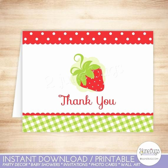 Folded Thank You Card Template Fresh Strawberry Thank You Card Strawberry Folded Thank You