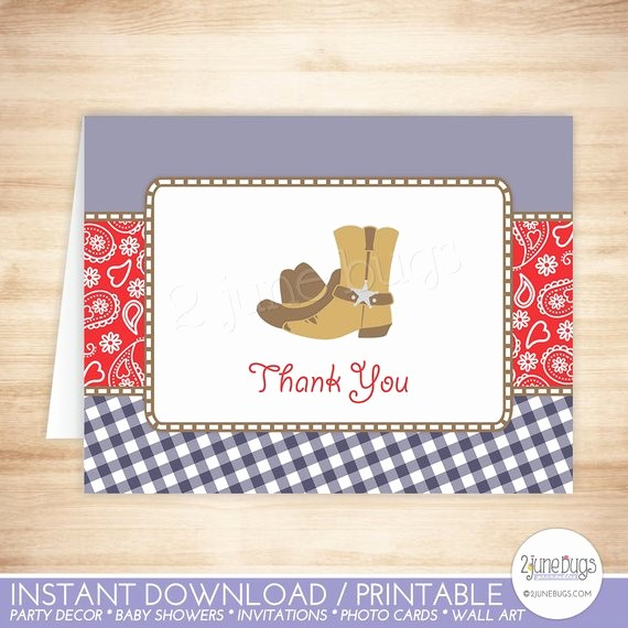 Folded Thank You Card Template Inspirational Cowboy Thank You Card Template Cowboy Folded Thank You