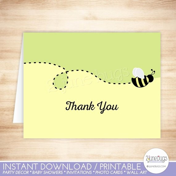Folded Thank You Card Template Luxury Bee Thank You Card Template Bumble Bee Folded Thank You