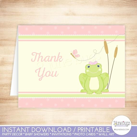 Folded Thank You Card Template Luxury Frog Thank You Card Template Frog Folded Thank You Card
