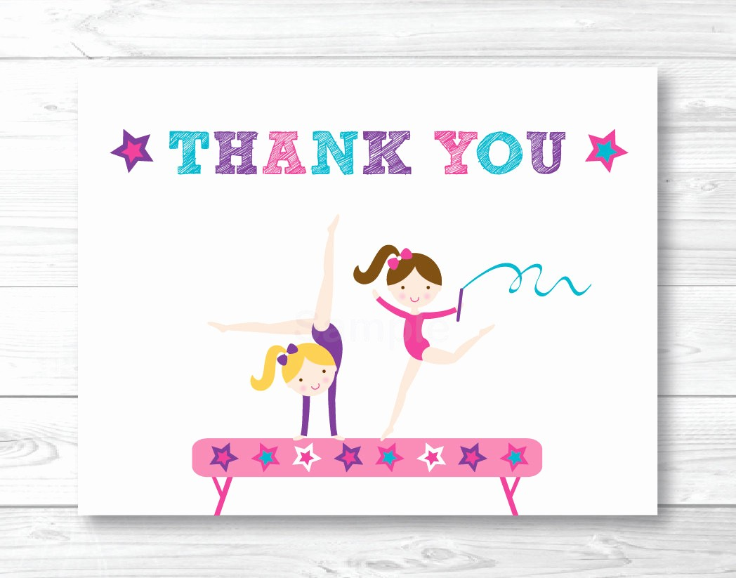 Folded Thank You Card Template Luxury Girls Gymnastics Thank You Card Folded Card Template