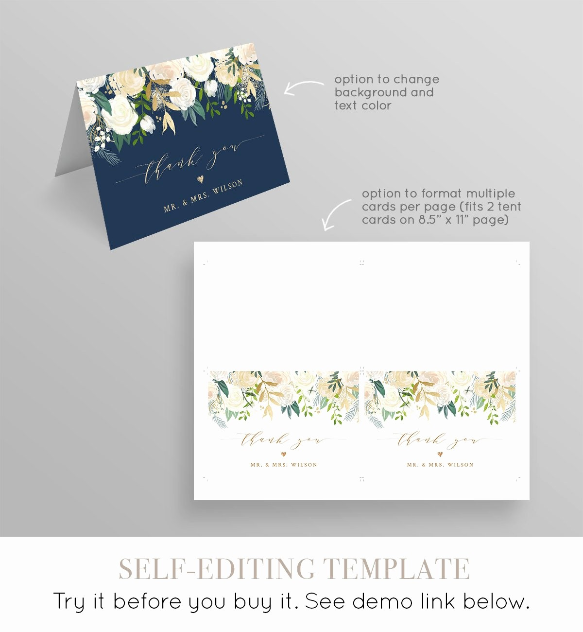 Folded Thank You Card Template Luxury Thank You Card Template Printable Wedding Bridal Shower